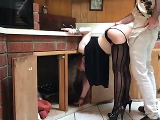COUGAR stuck in the kitchen drilled hard by neighbor (pin)