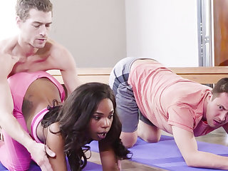 Horny black babe fucks the brush yoga instructor and the brush buddy