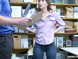Lovely shoplifting chick Izzy Lush gets her mouth together with pussy punished