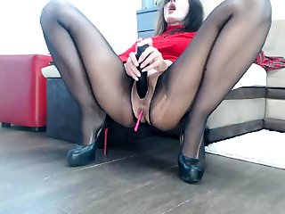 Nylon pantyhose added to pussy masturbate