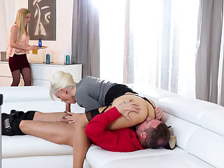 Stepmom having a 3some down a stepdaughter and her BF