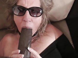 Big ass chubby MILF deepthroated by BBC and fucked in interracial with cumshot