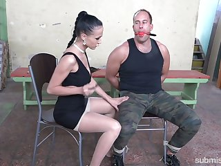 Mistress gives a tugjob and blowjob to compelled around duteous Marcel Lee