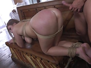 Shibari rope enslavement video featuring curvaceous in flames head Skylar Snow