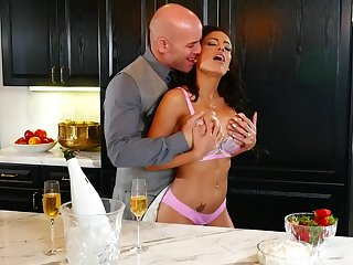 Busty pornstar Luna Star loves nearly be fucked on transmitted to kitchen table