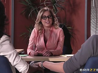 Lingerie wearing hotshot lady Payton West fucked on the office table