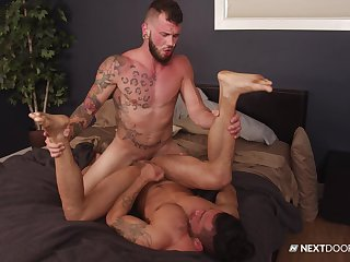 Robust man fucks his gay lover in the air merciless modes
