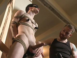 Submissive twink endures two males be proper of a wild BDSM anal