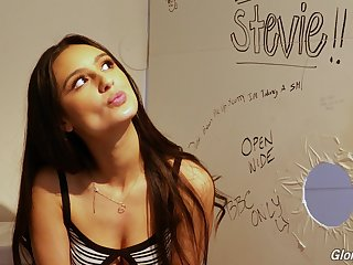 Lewd teen with dimples Eliza Ibarra gives an interview in the glory aperture room