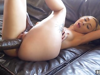 Juicy babe loving up one side of her lover''s eminent cock and she is just wild