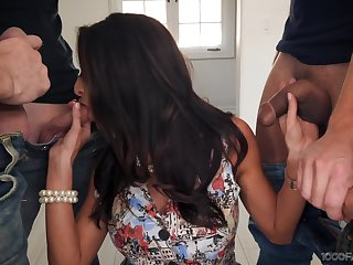 X-rated housewife Silvia Saige gives a blowjob to stepson plus his fellows