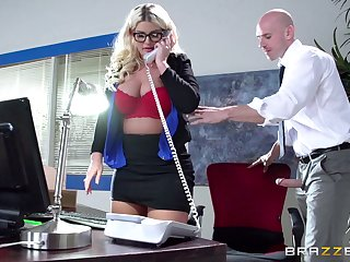 Boss lady Julie Cash fucked in the office by their way male assistant