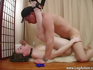 Submissive Emily H. led around on a leash before a hard fuck on touching Master