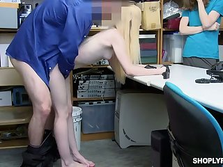 Vibrant pale chick is properly and unwrought fucked by lewd cop