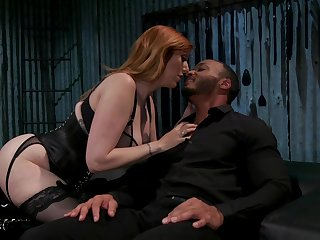 Submissive dude is fucked by hot dominatrix fro huge tits Lauren Phillips
