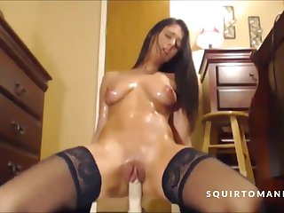 Hot neonate in stockings and with perfect body oiling herself and squirting over