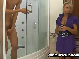 Russian Hot Milf Asks Man In Shower For Sex