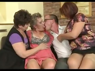Three sweltering Grannies Vs Big-Dicked Youngster