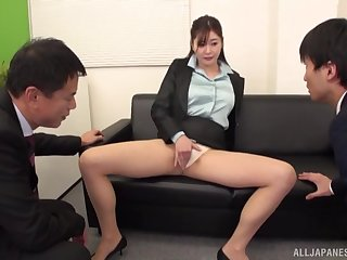 Secretary Aoi Yurika moans while acquiring fucked by two dudes