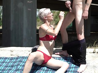 Still looking hot age-old haired mature lady in white-hot bikini gives BJ