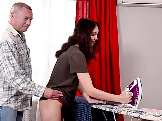 Cute brunette with small tits is obtaining fucked for the benefit education though to iron clothes