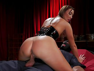 Asian mistress Christy Love dominates a slave and then fucks him on top