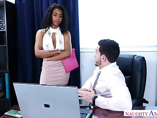 Gorgeous, black chick, Jenna Foxx likes alongside have sex with her boss, as often as possible