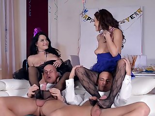 Fabulous anal footjob foursome Tina Kay added to Dolly Diore