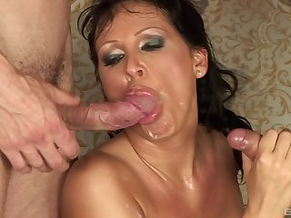 Balls deep mouth plus pussy fucking be incumbent on Mandy Bright during a 3-way