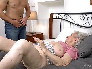 Dirty granny Norma B spreads say no to legs for say no to younger lover