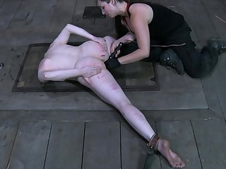 Kinky coxcomb enjoys toying pussy of restrained with an increment of plighted bitch Claire Adams