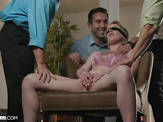 Blind folded bitch receives extra dick for her needs