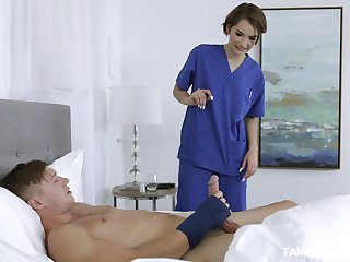 Sweet nurse with this guy pacified though his wife is at home