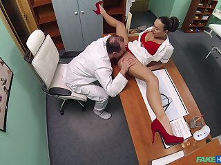 Mea Melone and an older doctor fuck about the examination room