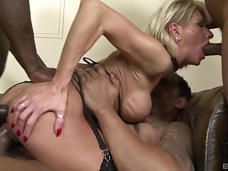 Hot matured shared by a bunch be proper of men beside insane cocks