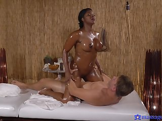 Naked ebony masseuse craves for the guy's dick in her thick ass