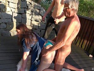Hardcore outdoors amateur group making love with exploitative sluts Iveta and Aneta