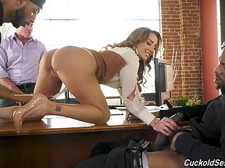 A- nude MILF is blacked in a rough cuckold threesome