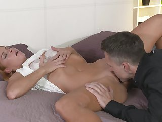 Sultry amateur lets a stud lick and spear the brush sexy lady bits