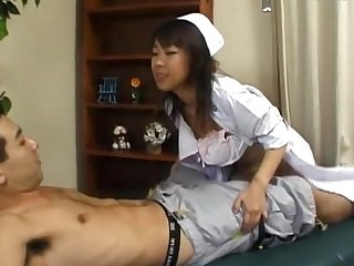 Gung-ho Japanese nurse Ryo Hazuki enjoys while getting fucked